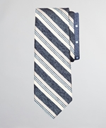 Silk and Linen Textured Variegated Stripe and Dot Tie 썸네일 이미지 1