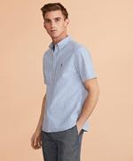Striped Seersucker Short-Sleeve Shirt 썸네일 이미지 1