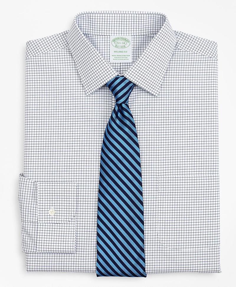 Stretch Milano Slim-Fit Dress Shirt, Non-Iron Poplin Ainsley Collar Small Grid Check 썸네일 이미지 1