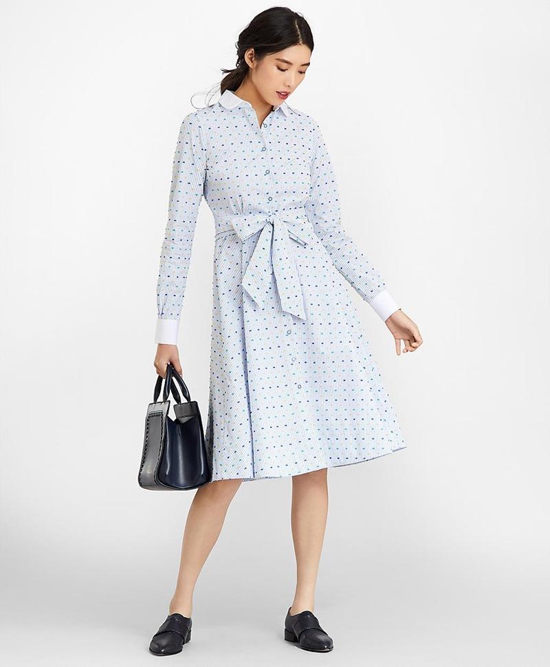 Clip-Dot Supima® Cotton Dobby Shirt Dress 썸네일 이미지 3