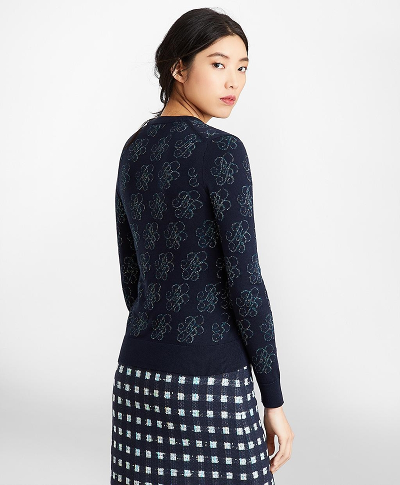 Shimmer-Knit Supima® Cotton-Blend Signature Cardigan 썸네일 이미지 4